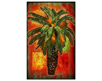 """Fine art print """"Palm Tree"""", Mounted and ready to hang or frame, 10 by 16 inches. Plus fast and free shipping"""