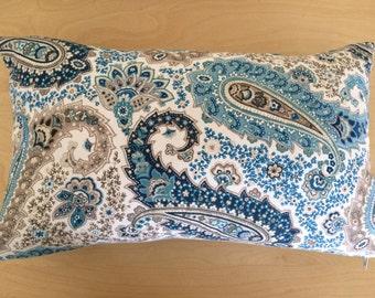 Paisley Lumbar Pillow Cover, Shades of Blue and Brown Lumbar Pillow Cover, 12''x20''