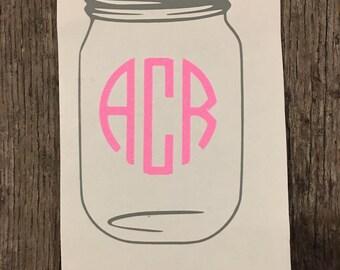Personalized mason jar decal