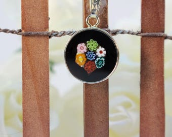 14mm Murano Millefiori Lampwork Glass Pendant 24K Gold Plated Sterling Silver Black Flowers G2