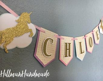 Unicorn Banner, Unicorn Birthday Banner, Unicorn Birthday, Magical Banner, Magical Birthday Banner, Unicorn High Chair Banner