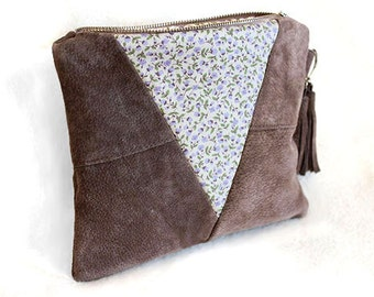 Mink Brown Suede Clutch Bag