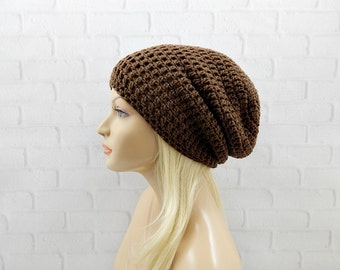 Brown Crochet Hat, Slouchy Hat, Slouchy Beanie, Oversized Hat, Vegan Hat, Slouch Hat, Crochet Beanie, Womens Hat, Winter Hat, Crochet Slouch