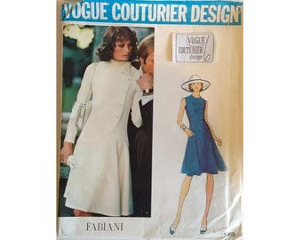 """UNCUT with Original Label Vintage 70's Vogue Couturier Design 1065 Fabiani Dress Pattern Bust 38"""""""
