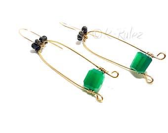 Green onyx earrings, Grade AAA green onyx 14K Gold filled wire wrapped earrings, gift for her