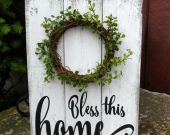 Bless this home, rustic wood sign, modern farmhouse, country home, country kitchen, rustic farmhuse, country home decor, inspirational sign