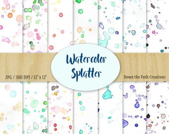 Watercolor Splatter Digital Paper, Instant Download, Watercolor Background, Watercolor Texture, Colorful Paint Splotches, Scrapbook Paper