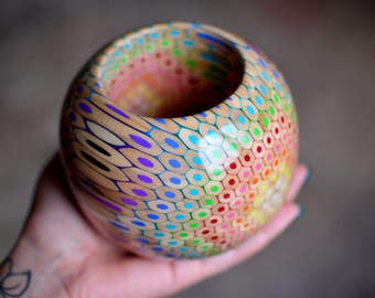Bangle bracelet made of colored pencils