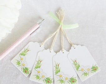 Daisy Gift Tags - set of 4 tags