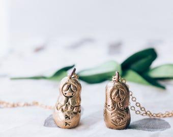 Matryoshka Doll Necklace || Russian Doll Necklace || Bronze