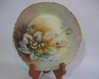 French Limoges Bowl w/Hazelnuts/Filberts - Hand Painted Dish - B Woodus Artist