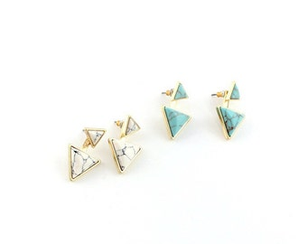 Howlite Triangles Earring Jackets - turquoise earring, howlite earring, earring jacket, yellow gold finish, double sided earring, geometric