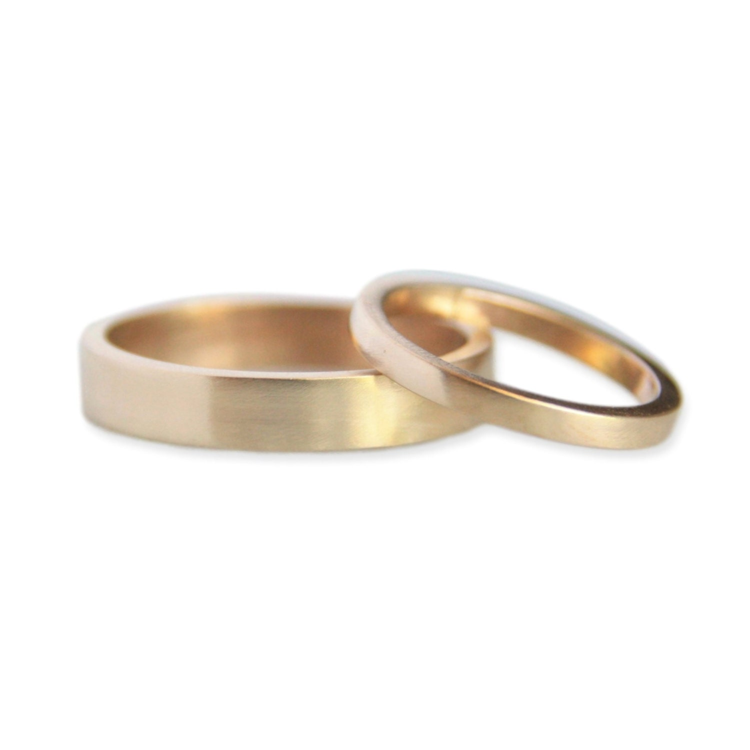 gold wedding ring set 14k gold ring his and hers eco etsy