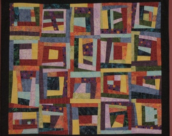 Art Quilt Wonky Log Cabin, Wall Quilt, Wall Hanging, Abstract, Modern quilt