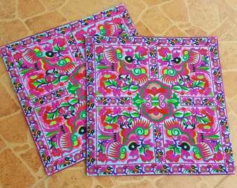 Get  2pcs of 40 x 40 cms.   Hmong hill tribe Embroidered Cushion cover, boho, bohemian,Thai cushion excl. pillow