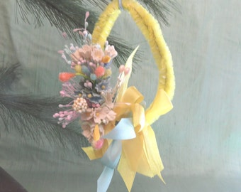 Spring ornament decoration / vintage style yellow and blue Easter decor
