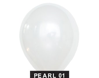 "PEARL-01 : 11"" Pearl White Latex Balloons (10 balloons per package)"