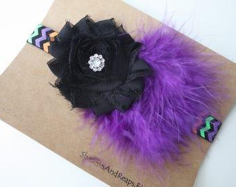 Shabby Flower and Puff on Chevron Headband