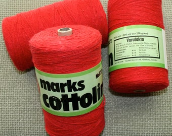Swedish Cottolin, Weaving Yarn, Red, Coned Yarn