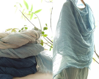 Washed linen wrap, soft scarf, Indigo woad blue, denim color scarf,  multiple loop scarf, hand dyed, blue linen wrap, indigo stone washed