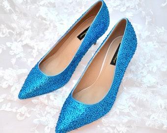 Swarovski Crystal capri blue Custom Bridal Low kitten Heel pointed Stiletto Luxury Leather Pump with silver gunmetal glitter sole