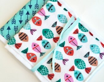 Babies Burp Cloth Set- Burp Rags-Cute Pink Turquoise Fish Arrows Nautical Baby Shower Gift, For Feeding Nursing Cloths, Matching Bib