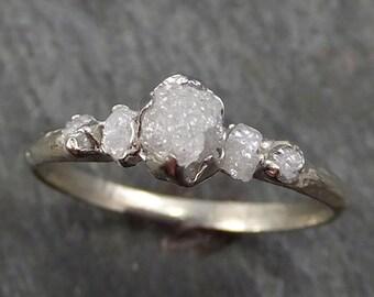 Custom Raw Diamond White gold Engagement Ring Rough Gold Wedding Ring diamond Wedding Ring Rough Diamond Ring byAngeline C0280
