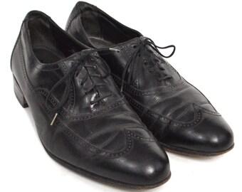 Vintage 90s Florsheim Wingtip Dress Black Shoes Sz 10 D