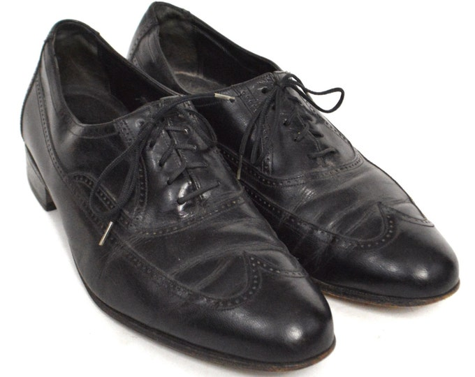 Vintage 90s Florsheim Wingtip Dress Black Shoes Sz 10 D