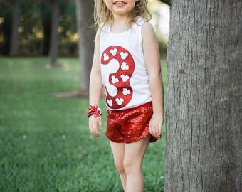 Minnie Birthday Custom Number Sparkly print girls kids baby Bodysuit Tank Top Tee T Shirt - Any Sparkle Color