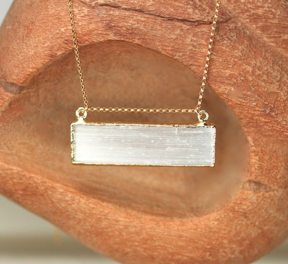 Selenite necklace - bar necklace - rectangle necklace - raw crystal necklace - healing crystal jewelry