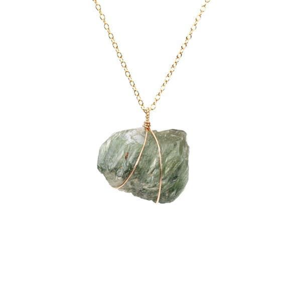 Epidote necklace - prehnite necklace - raw crystal necklace - mineral necklace - green crystal necklace - gold filled necklace