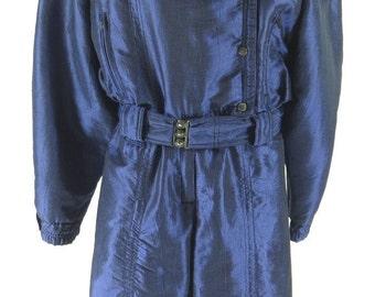 Vintage 90s Skea Paris USA Belted Winter Ski Suit Womens 10 [H32L_2-14_Long]