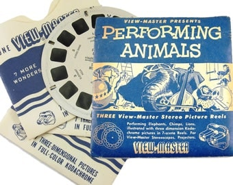 3 View Master Reels 1950 Viewmaster Set PERFORMING ANIMALS Stereoscopes Vintage Toy Elephants Lions Chimps Zoo Animals Sawyers Viewmaster