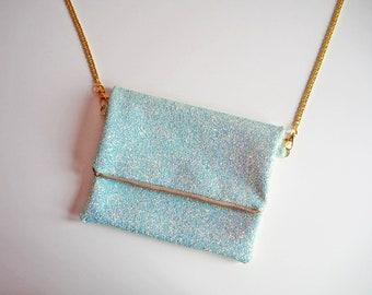 Lagoon Blue Glitter Fold Over Clutch, Light Blue Glitter Fold Over Bag, YKK Zip, Crossbody Bag with Gold Chain Strap, Blue Crossbody Bag,