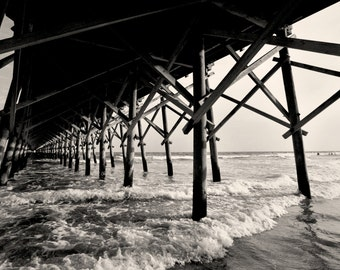 Folly Beach Pier, Charleston South Carolina, Black and White Photography, Atlantic Ocean, Black & White Photo, Beach - Limited Edition Print