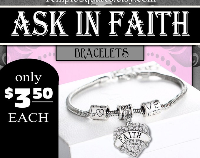 Bracelets - YW 2017 Ask of God Ask in Faith Young Women Theme Jewelry Charms DIY LDS New Beginnings, Missionary, Christmas, Birthday gifts