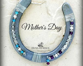 Horseshoe | Two Children's Birthstone Horseshoe | Mother's Day | Personalized Horseshoe | Birthstone Horseshoe | Mother's Day Gift | Two