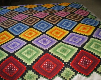 Vintage Crochet Granny Square Afghan Throw Blanket Multi Color Black Purple Red
