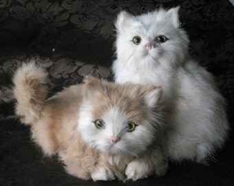 Vintage Real Fur Cat Figurines Rabbit fur Cats Kitten Kittens Figure White and Beige Kitty Cats