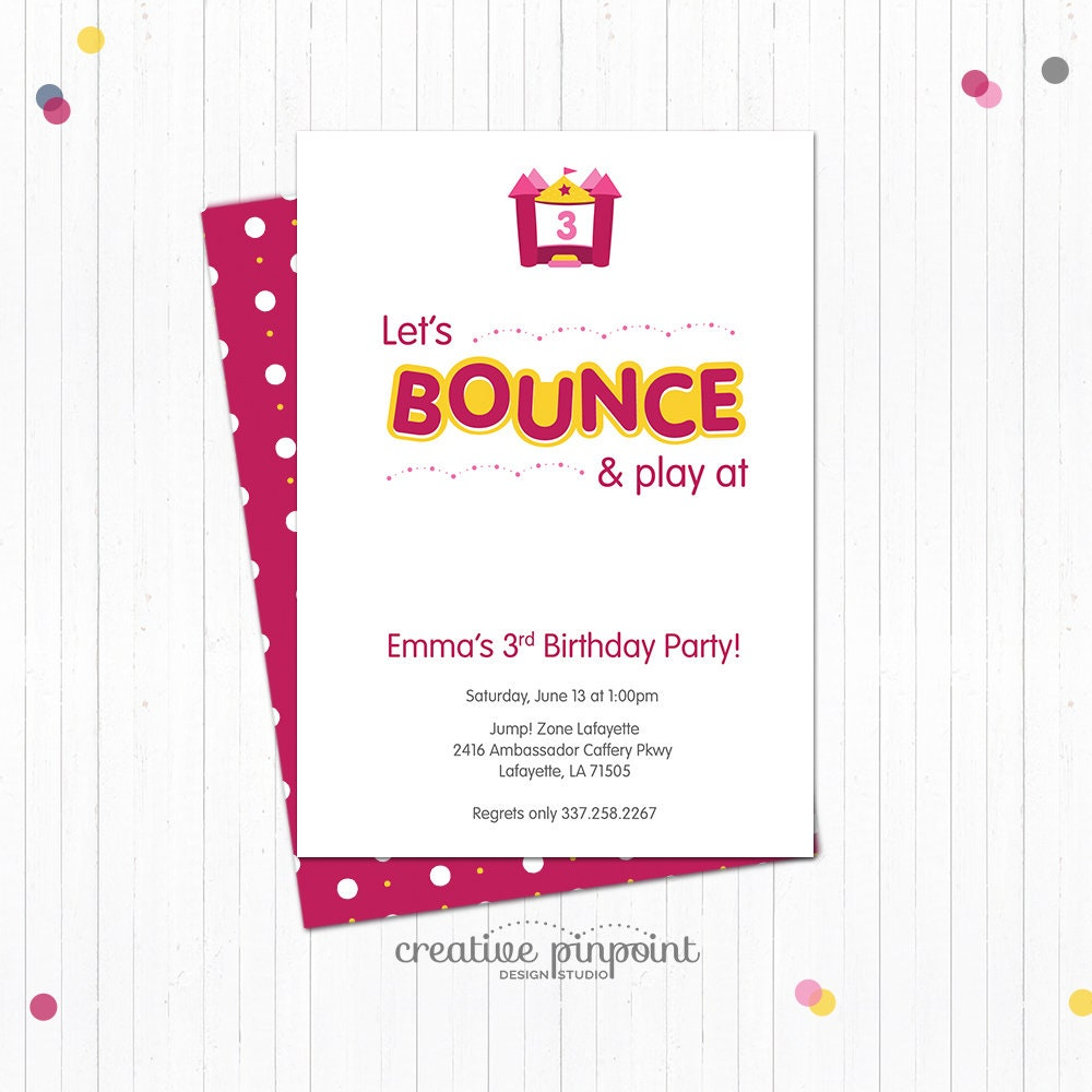 Bounce House Party Invitation - Bounce House Party Theme - Bounce ...