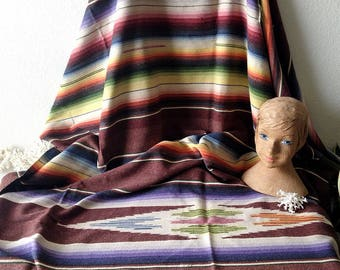 Vintage woven blanket Mexican Saltillo striped Serape throw colorful stripes bed covering rug fringe boho