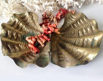 Vintage large brass clam shell hinged seashell box beach cottage decor display bowl dish trinket jewelry holder