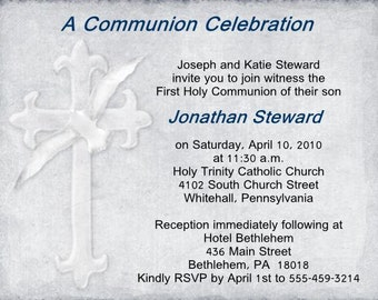 Communion Invitations, thank you  notes and favors to match