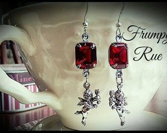 Swarovski Octagon Valentine's Cherub Earrings
