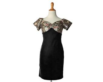 Velvet Dress 80s Dress 1980s Dress 1980s Party Dress Mini Dress Vintage 80s Christmas Dress Black Velvet Dress Gold Lame Dress XS Small