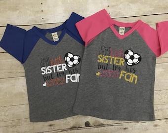 Little sister soccer raglan. Little sister tee. Soccer sister shirt. Little sister raglan.