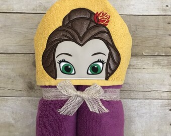 Belle hooded bath towel. Girls personalized bath towel. Embroidered bath towel. Princess bath towel.