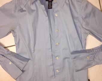 RALPH LAUREN polo jeans 90s slim fit blouse pale blue stretch size S