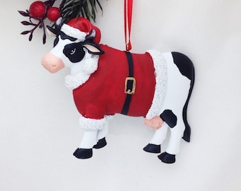 FREE SHIPPING! Cow in Santa Coat - Personalized Christmas Ornament - Christmas Cow Ornament - Animal Ornament